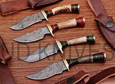 """LOT OF 4   6""""CUSTOM HANDMADE DAMASCUS STEEL HUNTING KNIFE  STAG ANTLER 11165"""