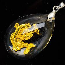 24k ORO AMARILLO .999 lágrima Favorable Dragón Colgante de cristal 3.8cm Joyería