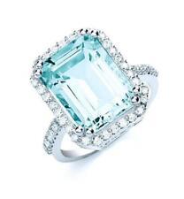 Anillos de joyería con diamantes de oro blanco aguamarina
