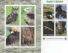 EAGLE OWL PAIR OF BIRDS OF PREY WILD ANIMAL MNH STAMP SHEETLETS