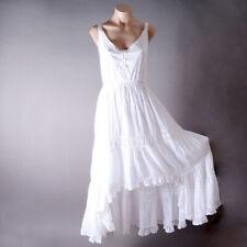 White Bohemian Crochet Asymmetrical Beach Party Boho Lace Long Maxi Dress S M L