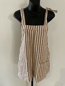Polly Shorts Jumpsuit Size 8.  Striped Ivory And Beige. GUC