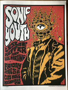 """Sonic Youth by Alan Forbes Nashville 2008, Gig Poster Rock Art 14x10"""" 13"""