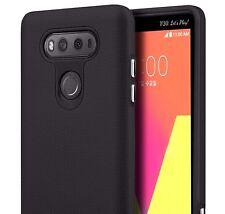 For LG V20 - HARD RUBBER HYBRID HIGH IMPACT ANTI-SLIP PHONE CASE COVER in BLACK