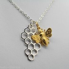 Honeybee & Honeycomb Necklace - 925 Sterling Silver & 24k Gold Plated Bronze NEW