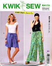 KWIK SEW SEWING PATTERN 4178 MISSES SZ 8-22 EASY WRAP-AROUND SHORTS & PANTS