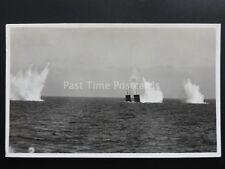 Inter war H.M.S. CHRYSANTHEMUM Firing at Gunnery Target - Old Royal Navy RP PC