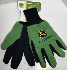 John Deere JD00002 Jersey Gloves - Large Work Gloves w/ Grip NWT K1 Adult