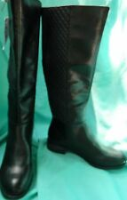NWT Lifestride Black Man Made Material Knee High Boots w/Quilted Back Size 7