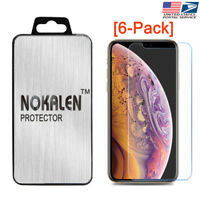 [6-Pack] NOKALEN Screen Protector HD Hardness Tempered Glass for iPhone X / XS