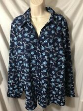 #376--  Basic Editions navy blue floral button front shirt, size 2X.  new