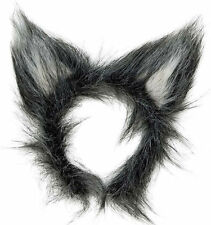 Deluxe orejas de lobo gris mullido para Hombre y Mujer Animal Diadema Casco Fancy Dress