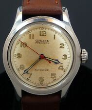 VINTAGE MILITARY MEN 1950s GRUEN BUMPER AUTOMATIC STAINLESS STEEL WATCH SERVICE