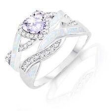 Alexandrite Heart Infinity Celtic White Opal w CZ Engagement Silver Ring Set