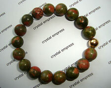 FENG SHUI - 10MM UNAKITE MALA BRACELET WITH GOLD BEAD