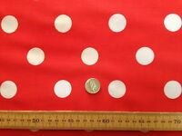 PolyCotton fabric * SPOTTED POLKA DOT * RED with WHITE SPOTS * 25 MM SPOTS