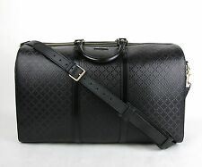 New Gucci Black Hilary Lux Diamante Leather Boston Duffle Travel Bag 387087 1000