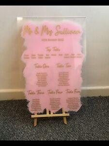 Table Plan A2 Hand Painted  Wedding up to 8 Tables Perspex Up to 8 Tables