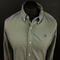 Timberland Mens Shirt LARGE Long Sleeve Grey Regular Fit Check Organic Cotton