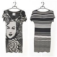 Womens Desigual Marilyn Monroe Dress Grey Printed Short Sleeve Size S