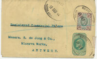 2468 1902 VF EVII ½ D postal stationery wrapper uprated 4D to Belgium REGISTERED