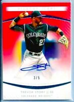 2017 Topps Diamond Icons Trevor Story Autograph BLUE INK AUTO RED Parallel 3/5!