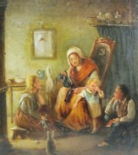 Original 19th C. German Oil Painting w/ Cat  EDUARD RITTER  c. 1850  antique