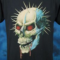vintage 80s DEMON SKULL PAPER THIN T-Shirt SMALL satan zombie biker punk rock