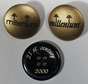 Vtg JHB International Plastic BUTTONS Millennium Year 2000 Y2K 21st Century