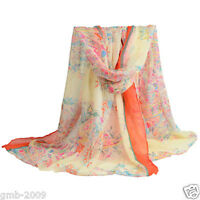 New Women's Flower Large Long Big Soft Cotton Voile Winter Warm Scarf Shawl Wrap