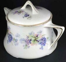 Antique Z S & Co Zeh Scherzer Bavaria Covered Sugar Bowl Grape 1880-1913 Germany