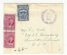 1952 Guanaja Islas Bahia Honduras to Boulder Colorado Three Stamps