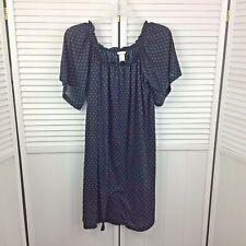 H & M Woman's Dress Baby Doll Navy Blue White Polka Dot Size Medium