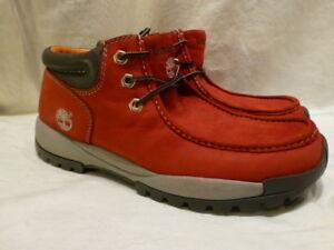 TIMBERLAND CHUKKA BURNT RED VINTAGE HIKING WALKING CASUAL MENS BOOTS 10.5M
