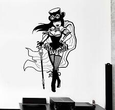 Vinyl Wall Decal Steampunk Girl Woman Fantasy Decor Stickers Murals (ig4746)