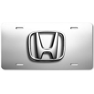 Honda Simple Logo on White & Gray Aluminum Novelty Art Auto License Tag Plate
