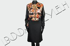 GIVENCHY 3425$ Auth New Cropped Silk Black Floral Print Bomber Jacket sz 36