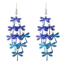 Vintage Style Dark and Turquoise Blue Dragonfly Drop Dangle Long Earrings E1073