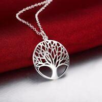 925 Sterling Silber Halskette Lebensbaum Anhänger Schmuck Baum des Lebens Damen*