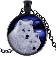 Collier Pendentif Couple Loups Blanc, Acier.