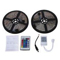2x5M 10M 5050 SMD 600 LED RGB Luz tira impermeable Flexible +24 colores clavT9D3