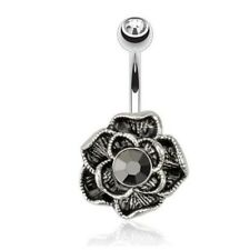BLACK HEMATITE BUDDING FLOWER GEM BELLY NAVEL RING BUTTON PIERCING JEWELRY B760