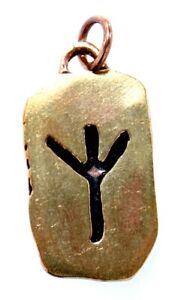 Rune Runen Anhänger Bronze Band/Kette Buchstabe Z Algiz Elhaz Elch Schutz 101