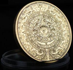 MAYA KALENDER - Azteken / Sonnenscheibe / Pyramide - MEDAILLE - VERGOLDET - RAR