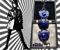 VINTAGE 1960s MODERNIST ENAMEL COPPER BRACELET COBALT BLUE STUDIO ARTISAN GIFT