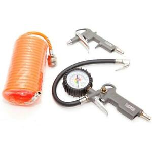 Druckluft Set 3 tlg Reifendruck Druckluftpistole Druckschlauch Kompressor