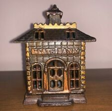 """New ListingCast Iron Bank """"State Bank"""" - Moore # 1083 Grey Iron Casting casting Co. Us"""