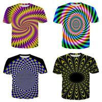 Fashion Women/Mens Magical Hypnosis Vortex 3D Print Short Sleeve Casual Tees top