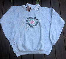 Nos Vtg 80s Endless Designs Roses Hearts Bows Collared Sweatshirt Xl Usa Made
