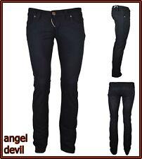 jeans pantaloni da donna angel devil elasticizzati vita bassa a zampa neri 40 27